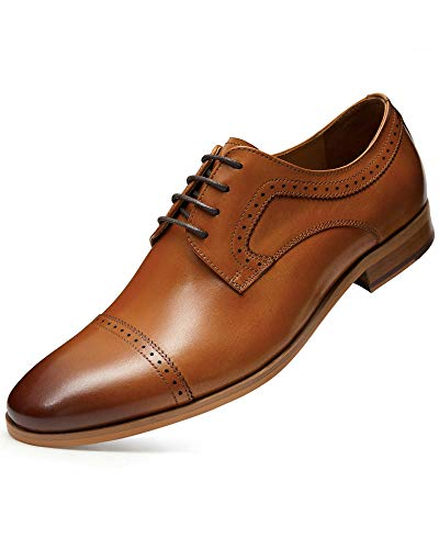 ALIPASINM Men's Dress Shoes with Genuine Leather in Cap-Toe Classic Oxford Formal Style Shoes for Men