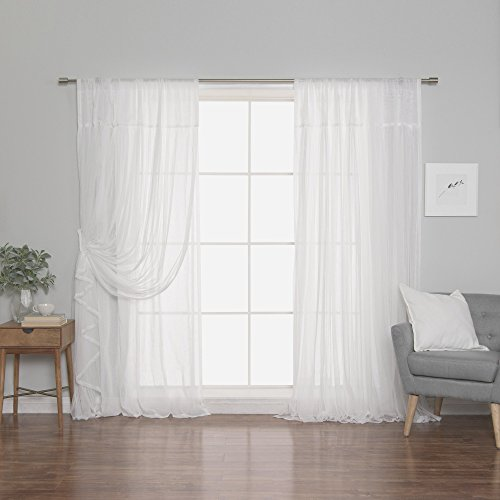 - Best Home Fashion Faux Pippin Linen Sheer Tulle Overlay Curtains - Rod Pocket - White - 50