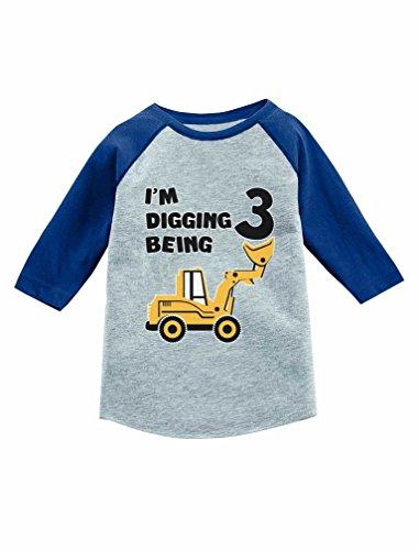 Tstars Construction Party 3rd Birthday Gift 3/4 Sleeve Baseball Jersey Toddler Shirt Blue 3T (3 Yr Old Boy Birthday Party Themes)