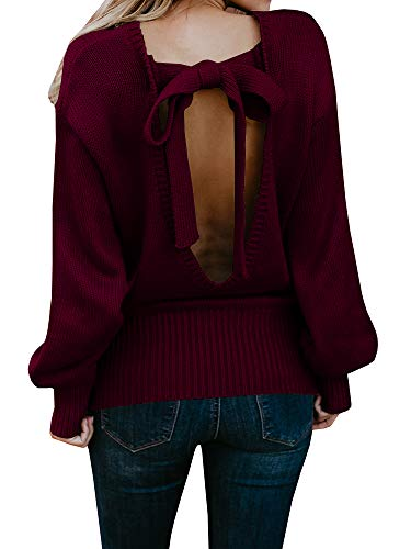 Geckatte Womens Sexy Backless Long Sleeve Loose Knitted Sweater Pullover Jumper (Large, Wine Red)