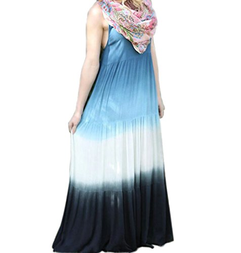 Floreale Womens Vestito Blu Estate Maxi Boho Sundress Spiaggia Domple Altalena Cinghia Slittamento twRwqrfx