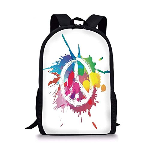 - School Bags Groovy Decorations,Famous Widely Used Peace Logo with Colorful Splash Grunge Style Anti war Pacifism Theme,Multi for Boys&Girls Mens Sport Daypack