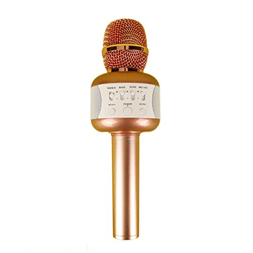 Karaoke Portable Systems Wireless Microphone Karaoke, Aluminum Alloy Bluetooth Handheld Microphones, Stage Stuidio Audio Equipment, Personal KTV for Apple iphone Cellphon Mac Book (Pink) (4 Wireless Mic System Case)