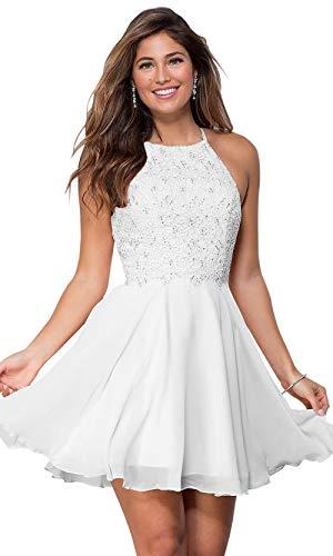 Women's Halter Open Back Beaded Chiffon Lace Wedding Party Dress Short Evening Dress White Size 2