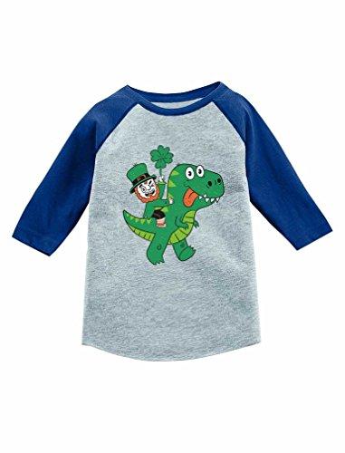 St Patricks Irish Leprechaun T-Rex Ride 3/4 Sleeve Baseball Jersey Toddler Shirt 3T Blue