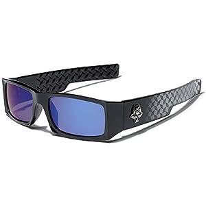 Locs Men's Original Gangsta Shades Rectangle Sunglasses with Color Mirror Lens