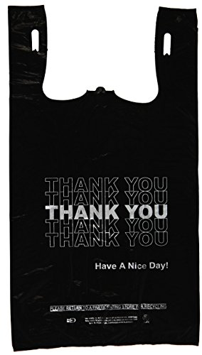 - Plastic Bag- Economy 'Thank You' Silver Print Black T Shirt Bag 11.5