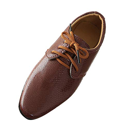 RAINED-Boys Lace-Up Dress Comfort Shoe Plain Toe Uniform Oxford Dress Shoes Performance Shoes(Little Kid/Big Kid) Brown - Lined Oxford Uniform
