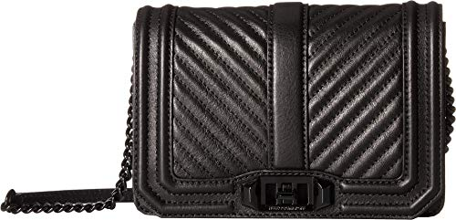Rebecca Minkoff Chevron Quilted Small Love Crossbody, BLACK ()