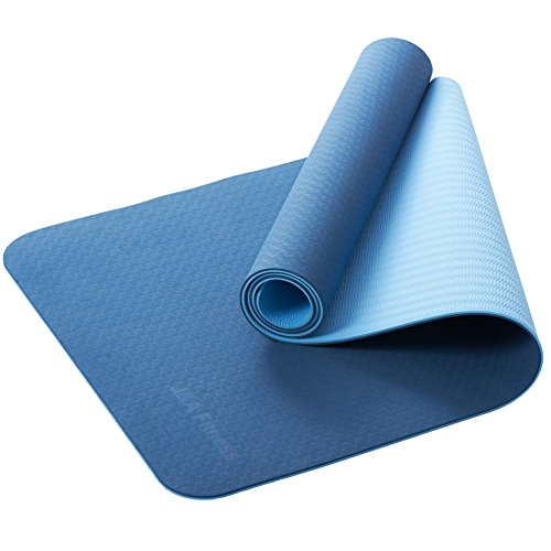 J&A Fitness Non Slip Yoga Mat, 6mm Thick Anti-Tear Fitness Yoga Mats Execise, Pilates Gym,72″x24″(Double Blue)