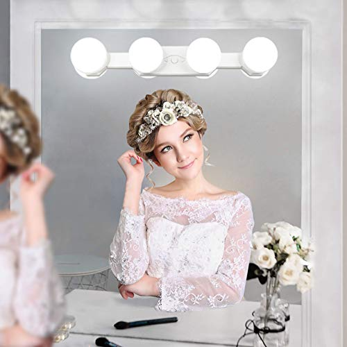 Portable Makeup Light Cordless Rechargeable Led Vanity Mirror Lights with Brightness Color Temperature Adjustable for Bathroom Dressing Room Vanity Table,Mirror Not Include