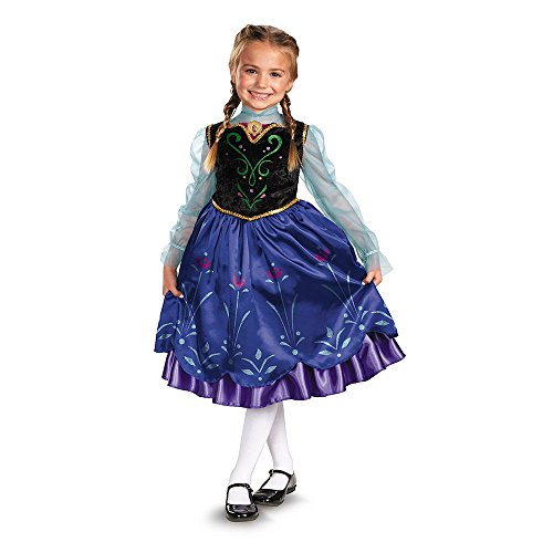 Girls Disney Frozen Anna Deluxe Costume, One Color, X-Small/3T-4T ()