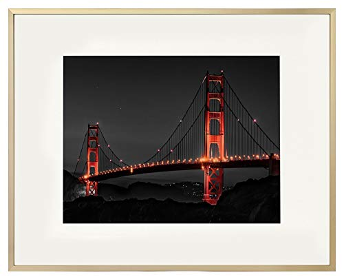 - Frametory, 16x20 Gold Aluminum Frame with Ivory Mat for 11x14 Pictures/Photos - Wall Mounting - Real Glass, Swivel Back Tabs, Sawtooth Hanger - Portrait/Landscape Display - Metal Collection (Gold)