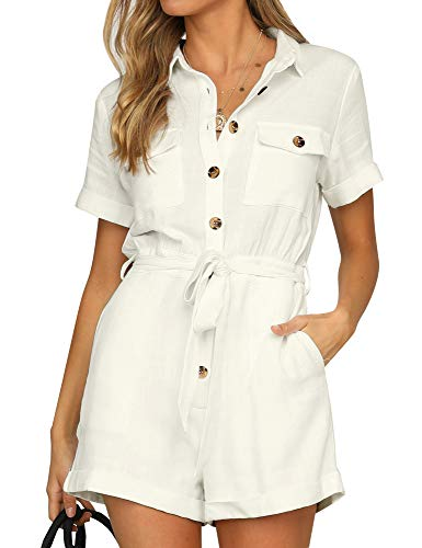 (Vetinee Women's Ivory Summer Pockets Belted Romper Buttons Short Sleeve Jumpsuit Playsuit XX-Large (US 20-22))