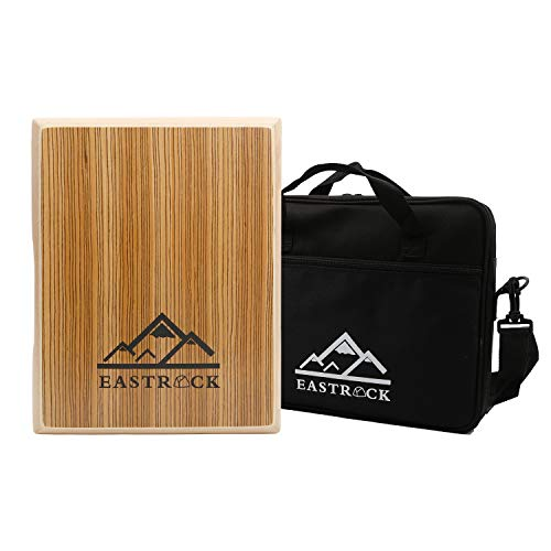 EastRock Cajon, Travel Cajon Box Drum Flat Hand Drum Percussion Instrument with Adjustable Strings Carrying Bag