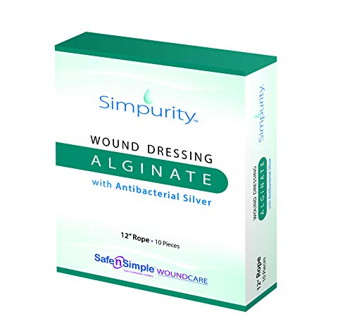 Simpurity Alginate Wound Dressing First Aid with Antimicrobial Silver, 12