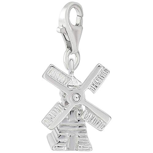 Rembrandt Charms Windmill Charm with Lobster Clasp, 14k White Gold