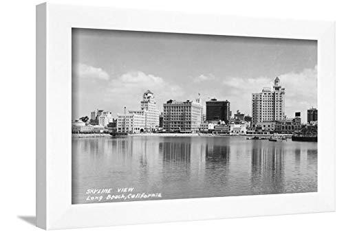 ArtEdge California City Skyline View Photograph-Long Beach, CA White Framed Wall Art Print, 12x16 in