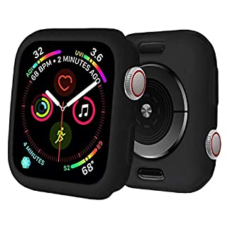 BOTOMALL for Apple Watch Case 38mm 42mm 40mm 44mm Premium Soft Flexible TPU Thin Lightweight Protective Bumper Cover Protector for Smartwatch Series 6/5/4 Series 3/2(Black,38MM Series 3/2)