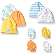 Gerber Baby 9 Piece Cap and Mitten Bundle, Elephant, New Born