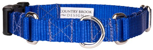 Country Brook Design Nylon Martingale with Deluxe Buckle - Royal Blue - Small