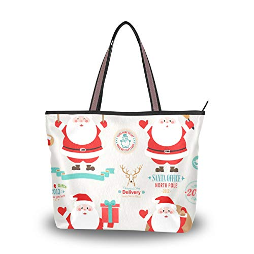 Adorable Dab Santa Claus Stylish Ladies Tote Bag High-grade Polyester Fabric Travel Essential Everyday Tote