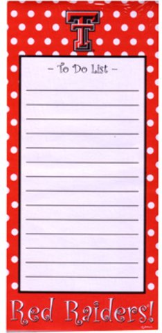 Game Day Outfitters 1937110 Texas Tech - Stationary Note Pad Magnet - Case of 144 by Game Day Outfitters