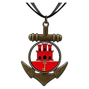 Chicforest Bronze Retro Style Gibraltar flag Anchor Pendant