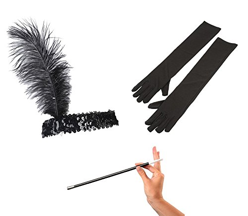 Kid Fun Jazz Era 1920's Costume Black Ostrich Feather Head Band, Long Gloves & Cigarette Holder Bundle ()