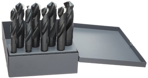 Chicago Latrobe 190 Series High-Speed Steel Reduced Shank Drill Bit Set With Metal Case, Black Oxide Finish, 118 Degree Conventional Point, Round Shank, Inch, 8-piece, 9/16