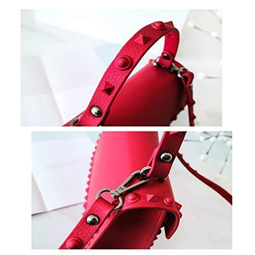 Paquete Red M 25 Diagonal La Remache L Simple 5 Calidad Manera 20 Aire Laidaye Mujeres Hombro 7cm Al Las 18 Libre Pu Rojo De Bolso 14 8 qvwWaF