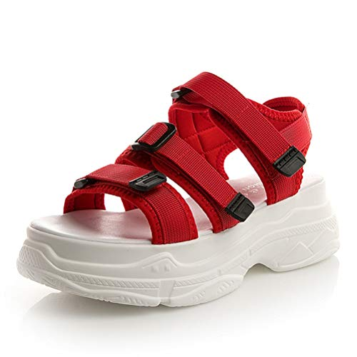 ChyJoey Women's Chunky Platform Sport Sandals Open Toe Lightweight Mid Heels Wedge Adjustable Strap Sandal Red