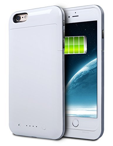 iPhone 6S Plus Battery Case, HianDier 6800mAh Extended Rechargeable Battery case iPhone 6 Plus / 6S Plus power Bank Cover handheld Charger Battery Pack for iPhone 6 Plus / 6S Plus 5.5''-White