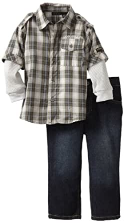 Calvin Klein Little Boys' Plaid Shirt Slider with Jeans, Assorted, 2T
