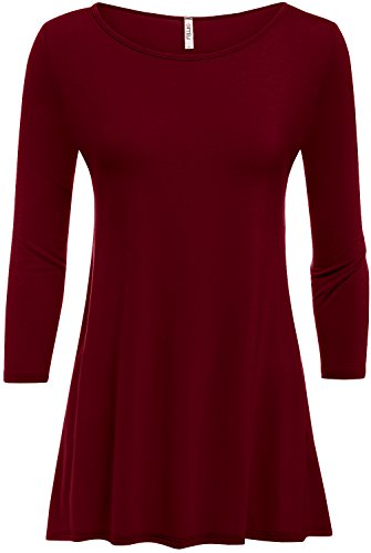 Burgundy Tunic Top Crew Neck 3/4 Sleeve Flowy Loose Tunics For Women, L
