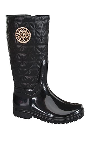Lucky Top/Top Moda Little Girl's Rainy-2k Rain Boots (13 M US Toddler, Black)