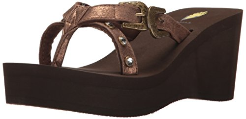Volatile Sandals Brown (Volatile Women's Beehive Wedge Sandal, Brown, 9 B US)