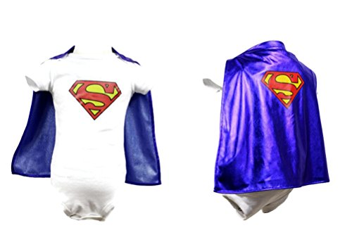 Rush Dance Superhero Detachable Cape Onesie Romper Baby, Toddler, Boy, Girl (S (3-6 Months), Superman)