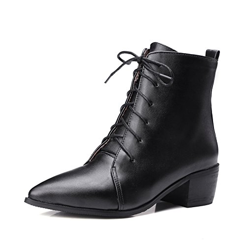AdeeSu Girls Lace-Up Mule Business Black Patent Leather Boots - 11 B(M) US (Leather Jersey Patent)