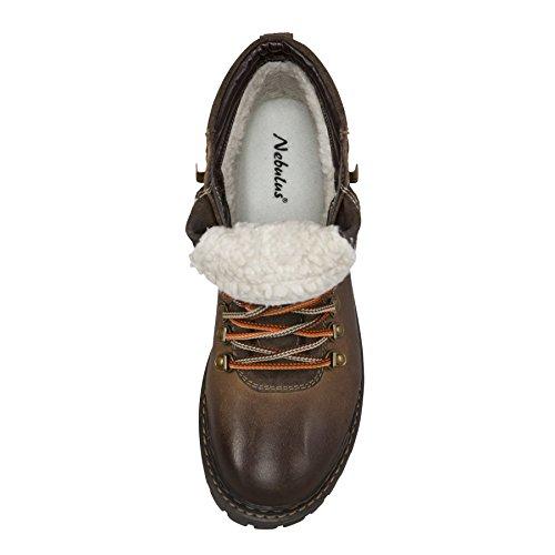 Randonnée Mérinos en marron avec Bottes hommes – Nebulus Bottes Cuir Bottes Doublure Laine d'hiver XqxEv