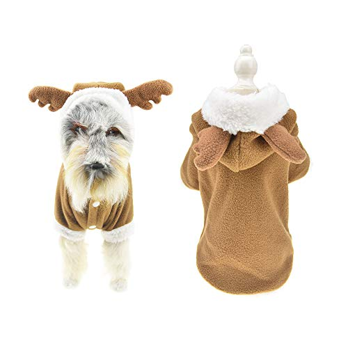 FLAdorepet Christmas Dog Elk Costume Clothes for Small Dog Winter Fleece Pet Jacket Coat (XL, -