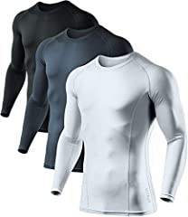 AthLio Baselayer® Series Package contents: Baselayer Long-Sleeve Shirts Material: Comfort-Soft 87% Polyester & 13% Spandex Multi-Sports : Perfect for Running, Golf, Football, and various other outdoor activies Multi-Functional : Provides ...