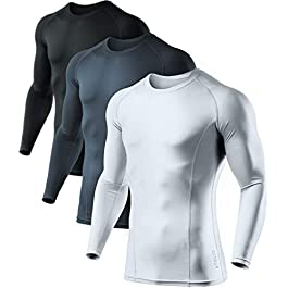 ATHLIO 3 Pack Men's Cool Dry Fit Long Sleeve Compression Shirts, Active Sports Base Layer T-Shirt, Athletic Workout…