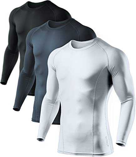 ATHLIO Men's (Pack of 3) Cool Dry Compression Long Sleeve Baselayer Athletic Sports T-Shirts Tops, Black/Charcoal/White, Large