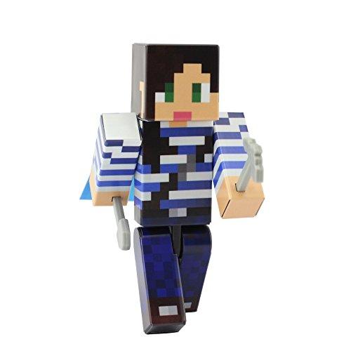 [Adventurer Girl Action Figure Toy, 4 Inch Custom Series Figurines by EnderToys] (Dragon Costume Skin Minecraft)
