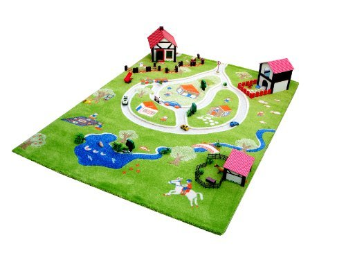 Little Helper IVI Exclusive Large & Thick 3D Childrens Play Mat & Rug in Colourful Farm Theme with 3 Dimensional Pond and Roads (134 x 180cm) by Little Helper by Little Helper