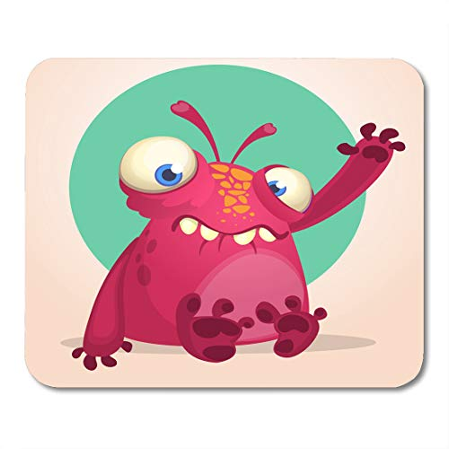 Boszina Mouse Pads Animal Colorful Character Happy Cartoon Alien Halloween of Monster Waving Martian Red Adorable Bigfoot Mouse Pad 9.5