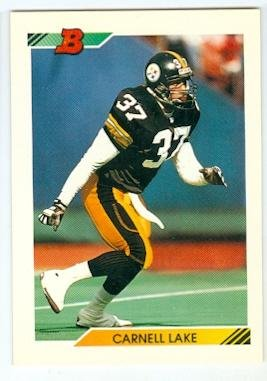 b7ac2844de7 Carnell Lake football card (Pittsburgh Steelers All Pro) 1992 Topps Bowman   78
