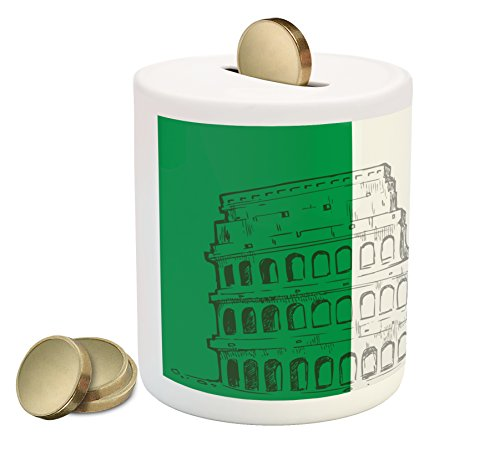 Lunarable Italian Flag Piggy Bank, Roma Landmark Colosseum Heritage Cityscape Civilization Image, Printed Ceramic Coin Bank Money Box for Cash Saving, Green Grey Ruby ()