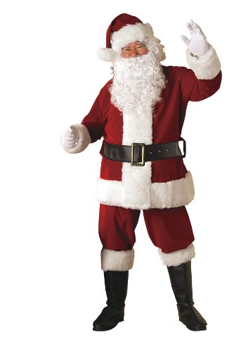 Rubie's 8-Piece Deluxe Velvet Santa Suit With Wig And Beard, Red/White, - Red Velvet Santa Suit